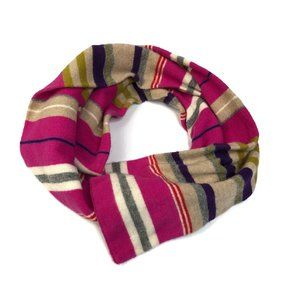 J. Crew Wool & Cashmere Pink Striped Long Scarf